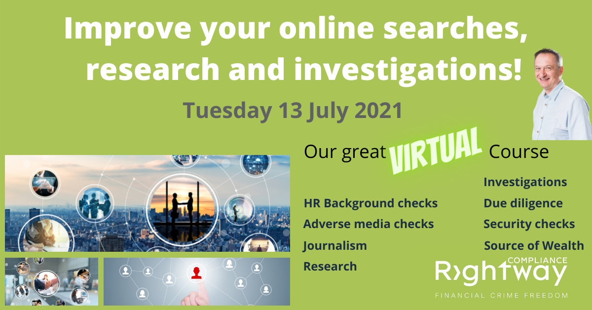 Virtual training by Rightway compliance, improve your online searches, research or investigations